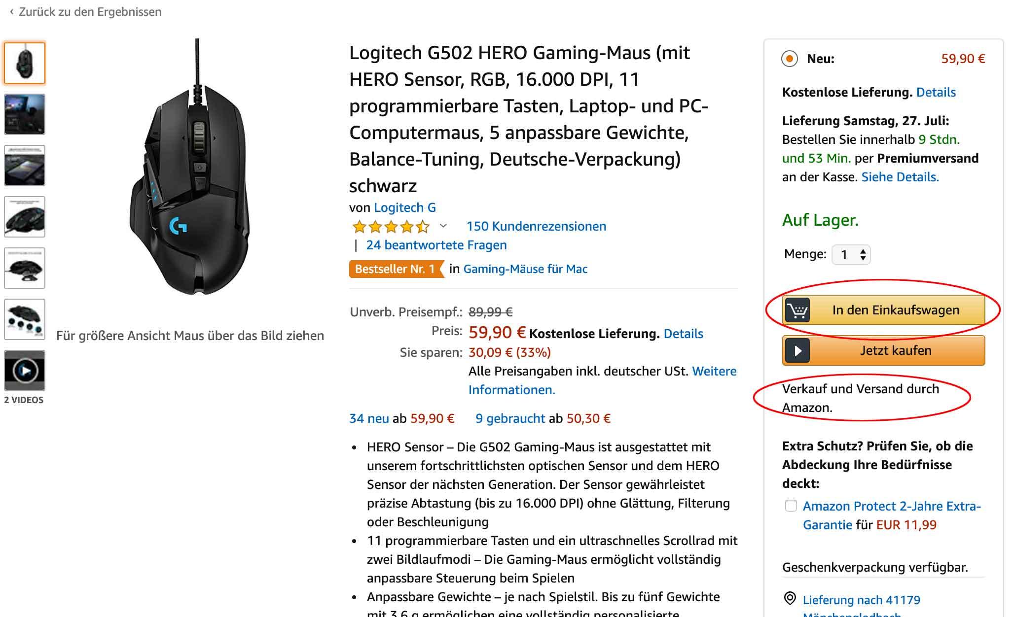 Buy Box Konkurrenz am Beispiel einer Gaming Maus