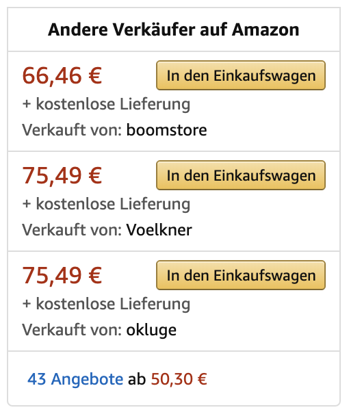 Diese Seller haben es nicht in die Buy Box geschafft und verkaufen bis zu 90% weniger als Amazon