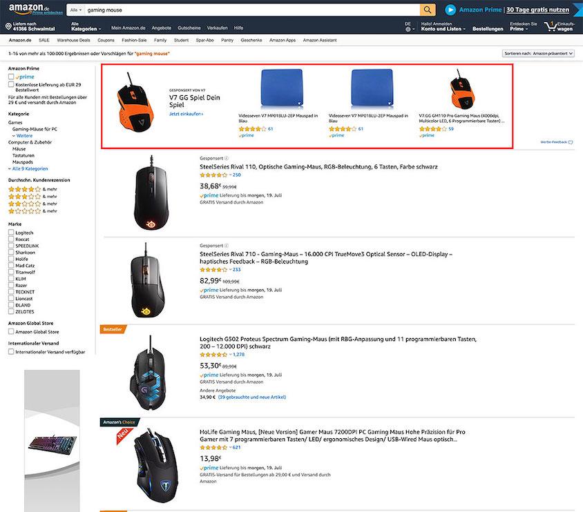 Gehören auch zur Strategie auf Amazon: Stonsored Brand Ads.