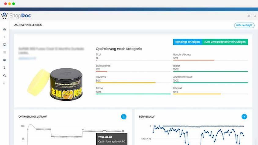 Der ASIN-Schnellcheck vom Amazon-Analyse-Tool Shopdoc