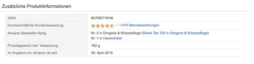 Haarschneider Hatteker Amazon-Verkaufsrang