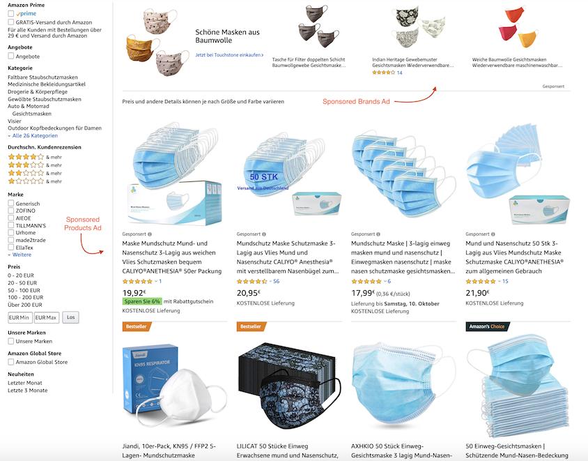 Durch Amazon Advertising und Sponsored Ads können einzelne Produkte beworben werden.