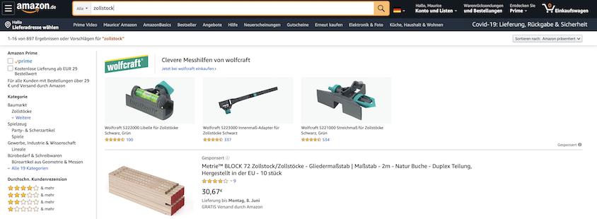 Amazon Advertising bietet auch Sponsored Brands an.