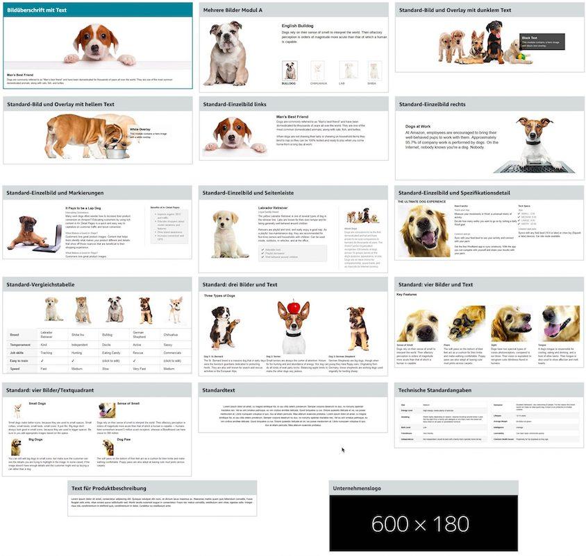 Screenshot aller Modul-Formate des ehem. Amazon Enhanced Brand Content Template.