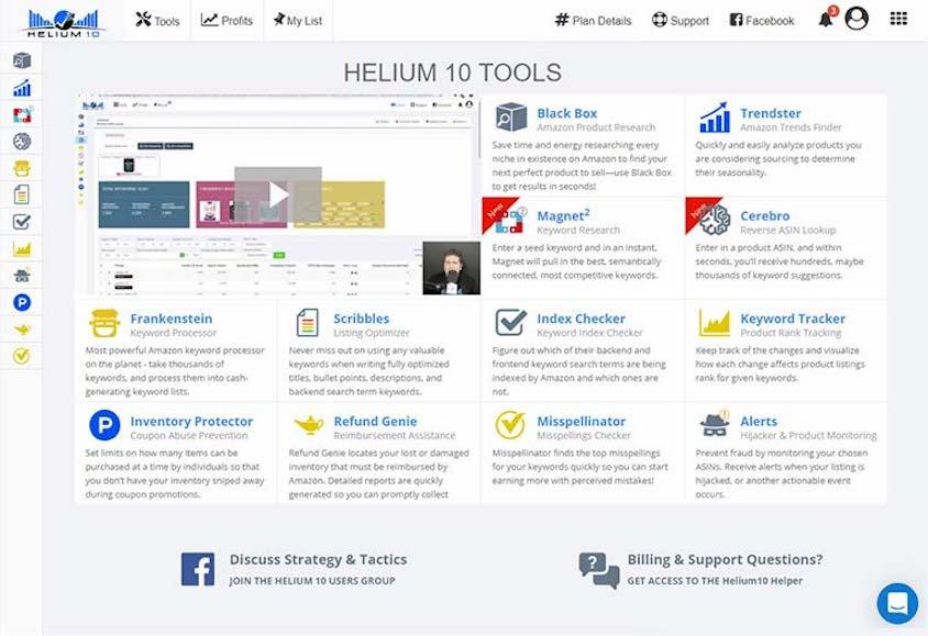 Das Dashboard von Helium 10, einem weiteren Amazon-Analyse-Tool