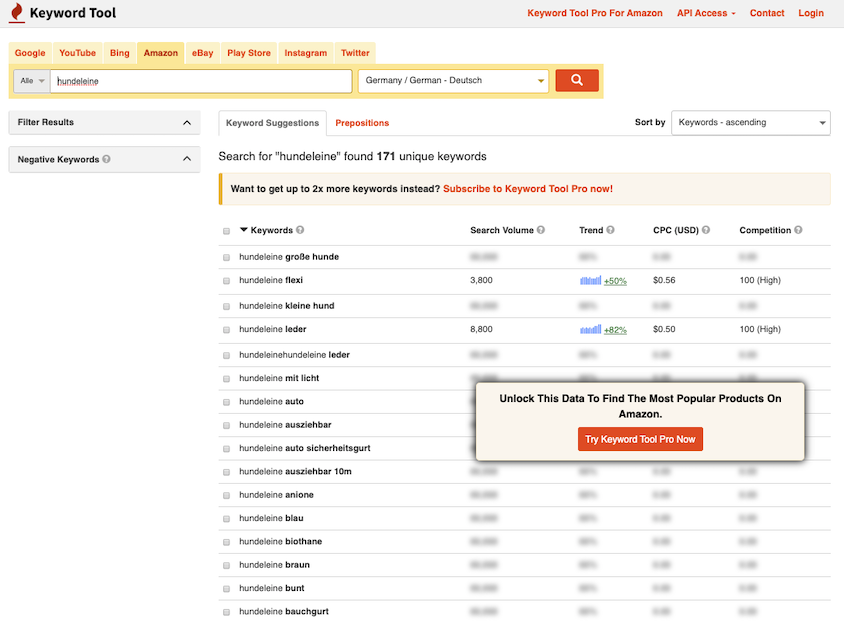 Amazon-Keyword-Tool von keywordtool.io