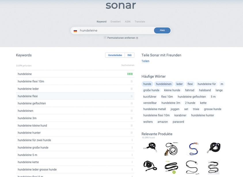 Sonar von Sellics als Amazon Keyword Tool