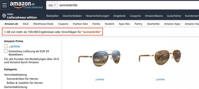 Der Amazon-Algorithmus beeinflusst die Suche maßgeblich, dieser Sonnenbrille bspw.