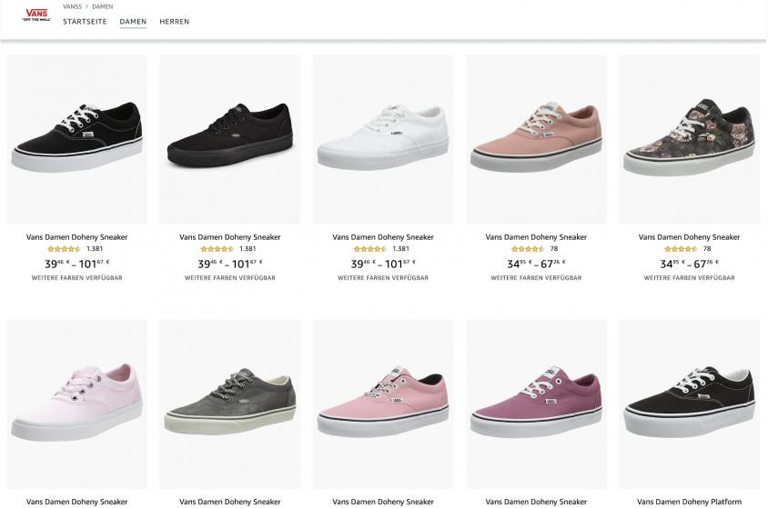 Amazon BrandStore Vans Beispiel